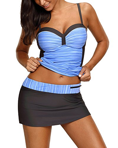 EVALESS Colorblock Tankini Skirted Swimsuits product image