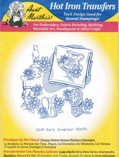 Early American Motifs Aunt Martha's Hot Iron Embroidery Transfer Hot Iron Press
