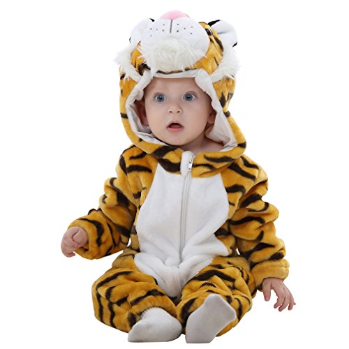 MICHLEY Unisex Baby Romper Winter and Autumn Flannel Jumpsuit Animal Cosplay Outfits, Tiger, 90cm-(13-18months)