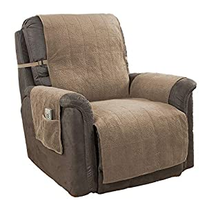 Link Shades GPD Heavy-Weight Microsuede Pebbles Furniture Protector and Slipcover with Anti-Slip Backing for Recliner Chair Chocolate
