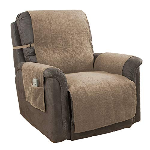 Link Shades GPD Furniture Fresh Heavy-Weight Luxury Textured Microsuede Pebbles Furniture Protector and Slipcover with Anti-Slip Non-Slip Backing (Recliner, Natural)-Water Repellant