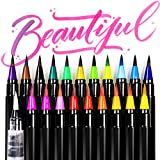 ARTarlei Watercolor Brush Pens, 20 colors & 1 Refillable Water Pen, Safe for Kids, For Coloring Books, Drawing, Calligraphy, lettering, Vibrant &Bold Colors and smoothly the brush pen is very vivid