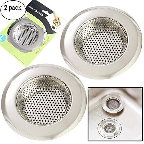 Platinum Stainless Steel Kitchen Sink - 2PCS Kitchen Sink Drain Strainer, Stainless Steel Sink Drain Strainer, Large Wide Rim 4.5