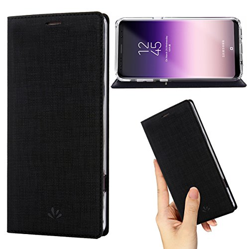(DLHLLC Galaxy S8 Case,Premium Leather PU Wallet Smart Flip Case with Stand Kickstand Card Holder Magnetic Closure TPU Bumper Full Cover Slim Leather Case for Samsung Galaxy S8 (Black))