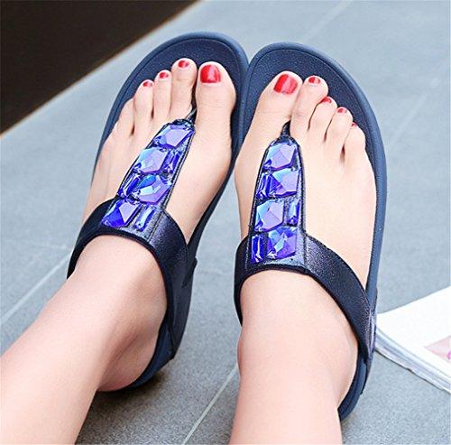 Femme YOGLY Été Haut Sandales Flip Boho de Bleu Flop Plage Chaussures T Talons Strass Forme Tongs Chaussons Aw4dqw