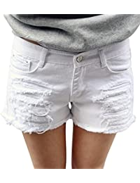 Women's Perfectly Fit 5-Pockets Ripped Denim Jean Shorts
