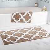 Super Absorbent 100 Percent Egyptian Cotton 2-Piece Taupe Trellis Bathroom Mat Set