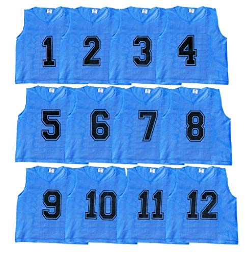 Soccer Scrimmage Vests - Athllete Set of 12- Scrimmage Vest/Pinnies/Team Practice Jerseys with Free Carry Bag. Sizes for Children, Youth, Adult and Adult XXL (Azure Blue Numbered, Small)