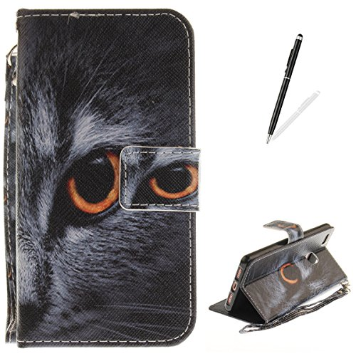 Huawei P9 Lite Flip Magnetic Leather Case [Free 2 in 1 Stylus Pen] KaseHom Half Face Cat Animals Painted Design Folio Wallet Case with [Card Slot] [Detachable Hand Strap] Slim Protective Cover -