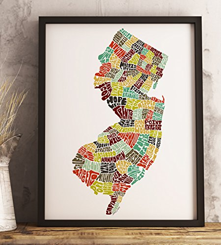 New Jersey Map Art Print available Framed or Unframed and in Several Size and Color Options