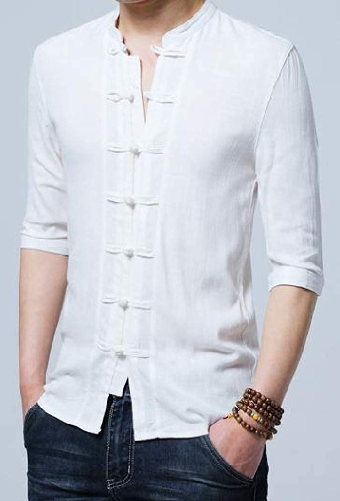 Winwinus Mens Chinese Style Cotton Linen Solid Color Chinese Tunic Suit Dress Shirts