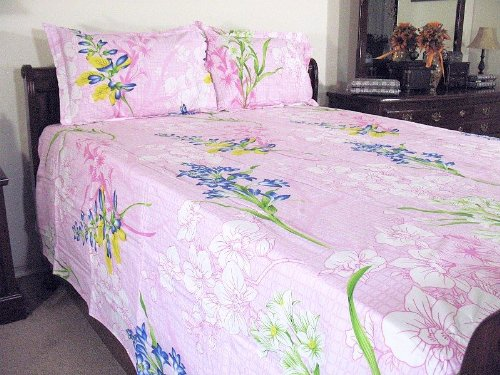 Pink Floral Ethnic Indian Bedroom Fine Cotton Queen Bedding Sheet Set with Pillowcases - 108in X 90in