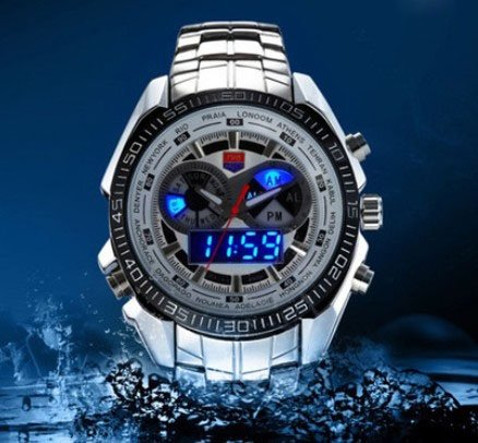 Tvg Stainless Steel White Mens Clock Fashion Blue Binary Led Pointer Mens Waterproof Watches