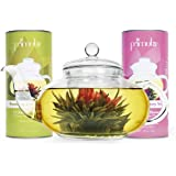 Primula 40-Ounce Daisy Tea Pot with 24 Variety Flavor Flowering Teas
