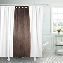 VaryHome Shower Curtain Chocolate Straight Dark Brown Human Hair Extensions Silky Beautiful Waterproof Polyester Fabric 60 x 72 Inches Set with Hooks