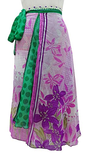El Modelo Abstracto Wrap Georgette Falda Pareo Reversible Hippie Mágico Multicolor (Diseño # 2)