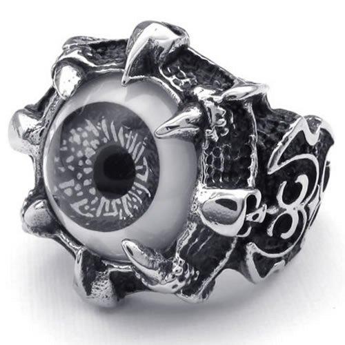 KONOV Stainless Steel Gothic Skull Dragon Claw Evil Eye Biker Men's Ring, Black - Size 8