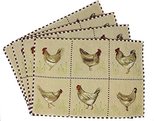 """Tache Country Farmhouse Rooster Hens Antique Vintage Traditional Home Beige Decorative Woven Tapestry Placemats, 13×19"""""""