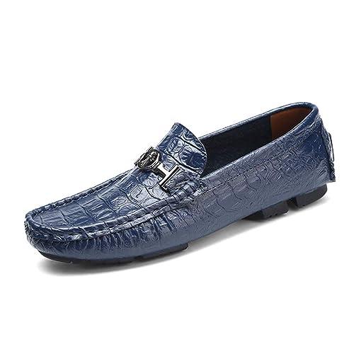 Mocasines de Hombre Zapatos Mocasines de Cuero Resbalón en los Planos Zapatos de conducción Estilo Hebilla: Amazon.es: Zapatos y complementos