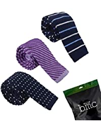 BMC Mens Knitted Square Flat End Fashion Neck Ties Adjustable Bowties Collection