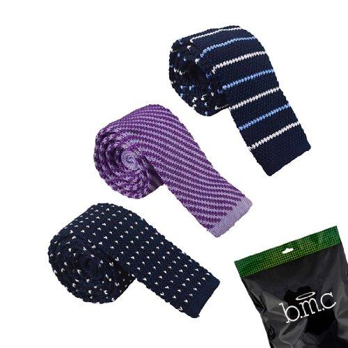 (BMC Mens Crochet Knitted Square Flat End Fashion Neck Ties 3pc Collection - Set 2, Dapper Pratt)