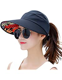 Sun Hats for Women Wide Brim UV Protection Summer Beach Packable Visor