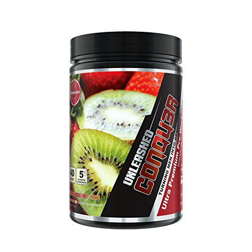 CONQU3R UNLEASHED STIM FREE Ultra Premium Pre-Workout Fuel With 5 Patented Ingredients by Olympus Labs (Strawngberry Kiwi), 296 G
