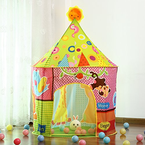 nt-Children Play Tent with Zoo Fun-Indoor and Outdoor Tent-Foldable Playhouse Castle Pop up Tent for Boy and Girl Toddler with carry-bag (Fun Play Tent)