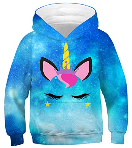 GLUDEAR Teen Boys Girls Cute Animal Unicorn Galaxy Hoodies Sweatshirts Pullover,Galaxy Unicorn,4-6T
