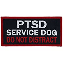 "PTSD SERVICE DOG DO NOT DISTRACT Service Dog Woven Patch (Large SEW-ON (2""x4""))"