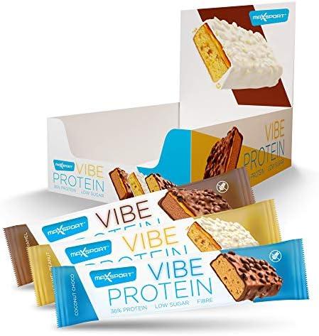 Maxsport Nutrition VIBE Protein - Premium Proteinriegel - 36% Protein, Geringer Zuckergehalt, Faserverstärkung, Mehrschichtstruktur, Glutenfrei Proteinriegel - 15 x 55g (MixBox)