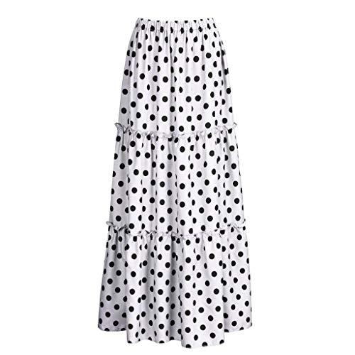 GOWOM Women Fashion High Waist Polka Dot Printed Skirt Loose Ruffled Pleated Skirt(White,Large)