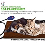 """Pet Heating Pad, NuoYo Electric Heating Pad for Dogs and Cats Warming Mat With 7 Adjustable Temperature Chew Resistant Steel Cord Waterproof Soft Reomover Cover 15.7""""x11.8"""" …"""