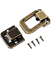 1Pc 47x33mm Antique Brass Decorative Toggle Clip Hasp Latch Buckle Padlock for Small Jewelry Cigar Box