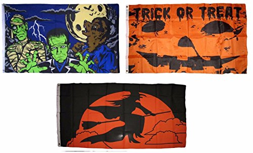 (ALBATROS 3 ft x 5 ft Happy Halloween 3 Pack Flag Set #23 Combo Banner Grommets for Home and Parades, Official Party, All Weather Indoors)