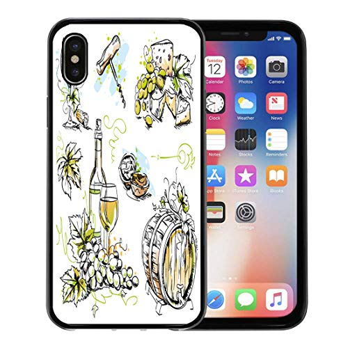 - Emvency Phone Case for Apple iPhone Xs Case/iPhone X Case,Wine Tasting Sketch Pen and Ink Watercolor Drawings Soft Rubber Border Decorative, Black