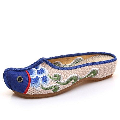 Aleatorio Estilo Sandalias Cómodas Desy Azul Unico Mujer Étnico Chanclas Moda Zapatillas Tendón Bordadas zzqInAPS