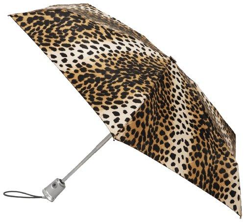 Totes Flat Close Umbrella Leopard