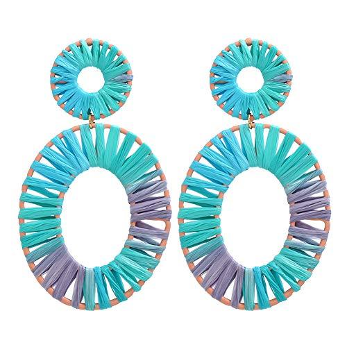 Togethluer Stud Earrings, Boho Beach Women Rainbow Raffia Rattan Hollow Oval Drop Statement Dangler Blue