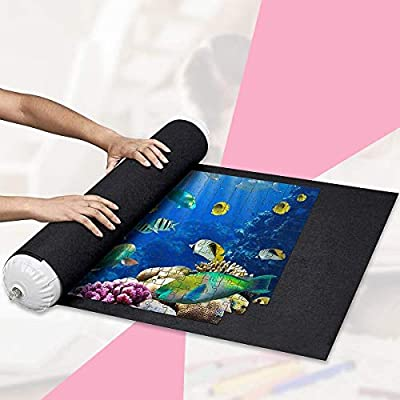 Jigsaw Puzzle Roll Mat Felt Mat for Puzzle Storage Puzzle Saver Up to 2000Pieces, Long Box Package, No Folded Creases, Environmentally Friendly, Large Puzzles Board for Adults Kids, Storage Puzzle (B): Sports & Outdoors