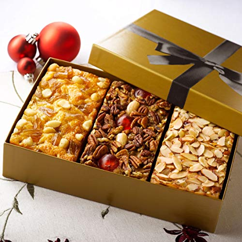 Christmas Fruitcake Assortment Old Fashioned Traditional, Amaretto & Pineapple Macadamia Nut Flavors, 3-1 Pound Cakes in Gold Gift Box (Christmas Cake Nut)