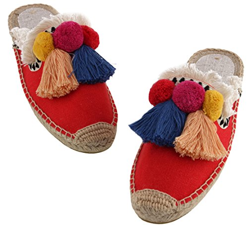 U-lite Women's Frayed Red Tassel Pom pom Embroidered Canvas Mule Shoes Espadrilles Flats 10 by U-lite (Image #5)