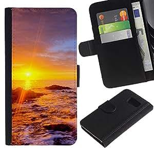 Paccase / Billetera de Cuero Caso del tirón Titular de la tarjeta Carcasa Funda para - Sunset Beautiful Nature 34 - Samsung Galaxy S6 SM-G920