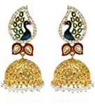 Youbella Jewellery Dancing Peacock Gold Plated Pearl Jhumka Earrings For Women