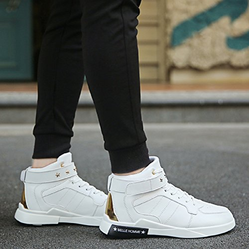 483f7b3f5052 TQGOLD Mens Casual High-Top Trainers Sneakers Leather Waterproof Velcro  Lace Up Shoes ( White