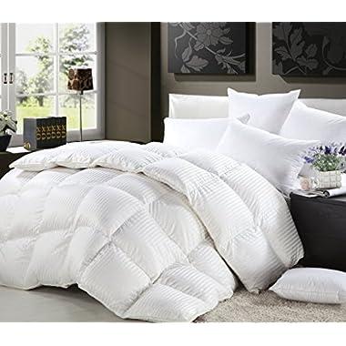 1200 Thread Count KING / CALIFORNIA KING Size Siberian Goose Down Comforter 100% Egyptian Cotton 750FP, 50oz & 1200TC - White Stripe