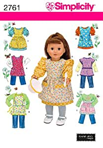 Simplicity Sewing Pattern 2761 Doll Clothes, One Size