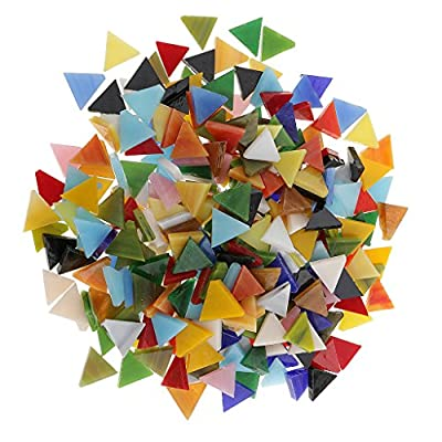 Jili Online 300 Pieces Triangle Shape Mixed Color Glass Mosaic Tiles Tessera for Mosaic Making Crafts Supplies 12mm