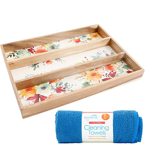 The Pioneer Woman Willow 13x18 Inch Cutlery and Flatware Tray Gadget Organizer with Cleaning Cloth