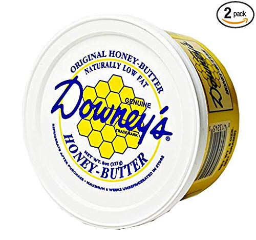 Honey Spread - Downey's Natural Honey Butter Variety Pack, Original and Cinnamon Flavors, 8 Oz. Tubs (Pack of 2)